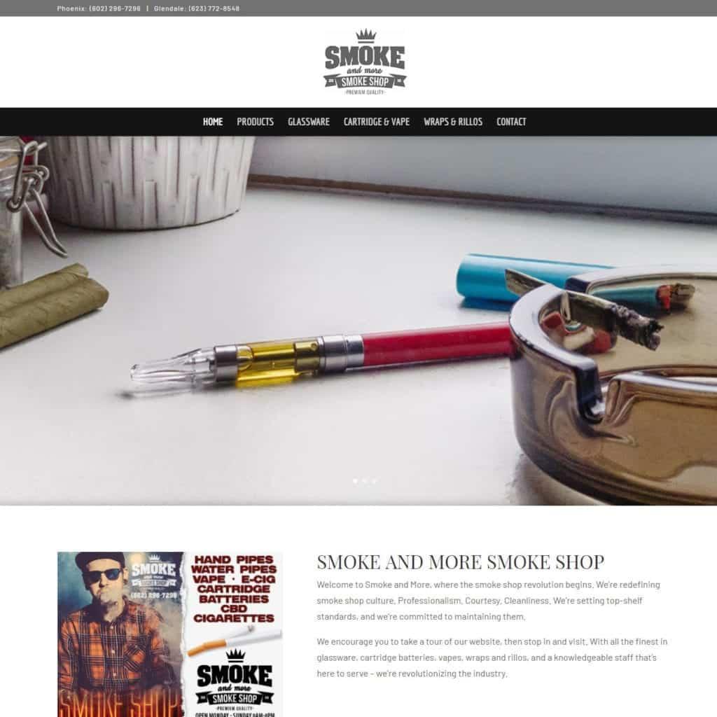 Smoke and More Smoke Shop Website